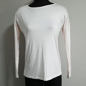 Zenana Outfitters Ivory Pink Long Sleeve Soft Tee